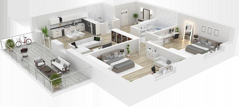 Perspective 3D - Appartement résidence Val de Sologne